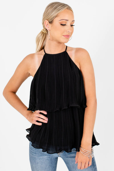 Black Halter Pleated Tiered Overlay Tank Tops for Women