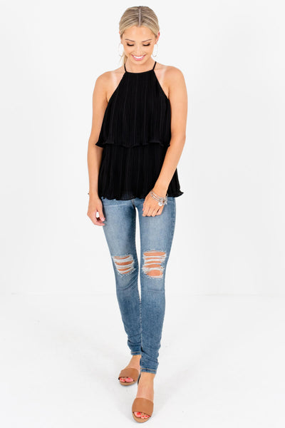 Black Halter Pleated Tank Tops Affordable Online Boutique