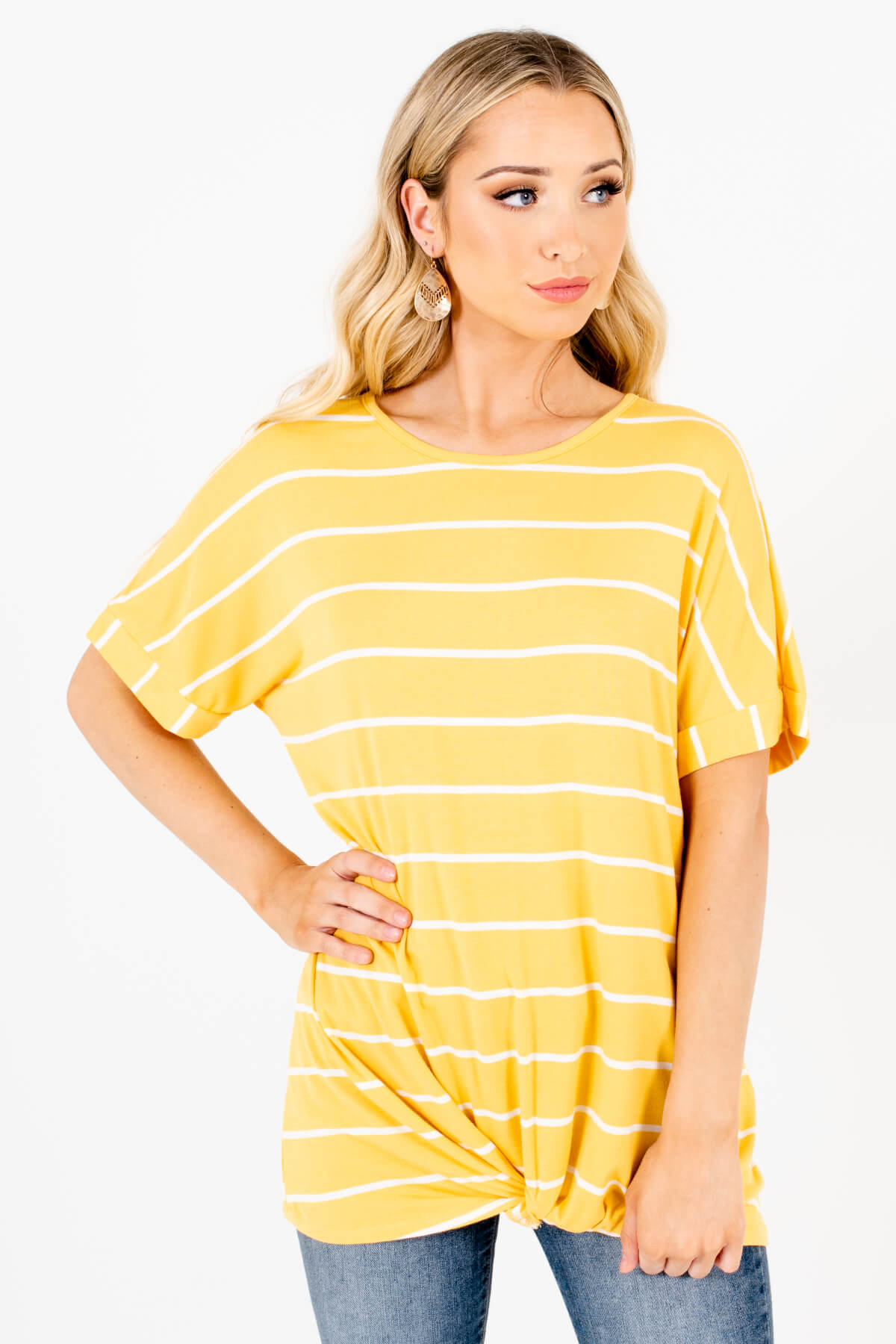 Yellow and White Striped Boutique Tops for Women