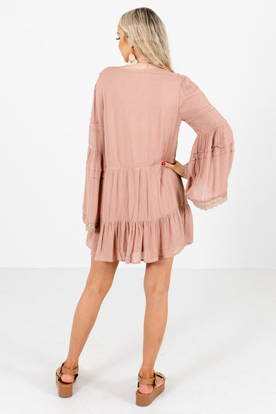 Women's Pink Crochet Lace Detailed Boutique Mini Dress