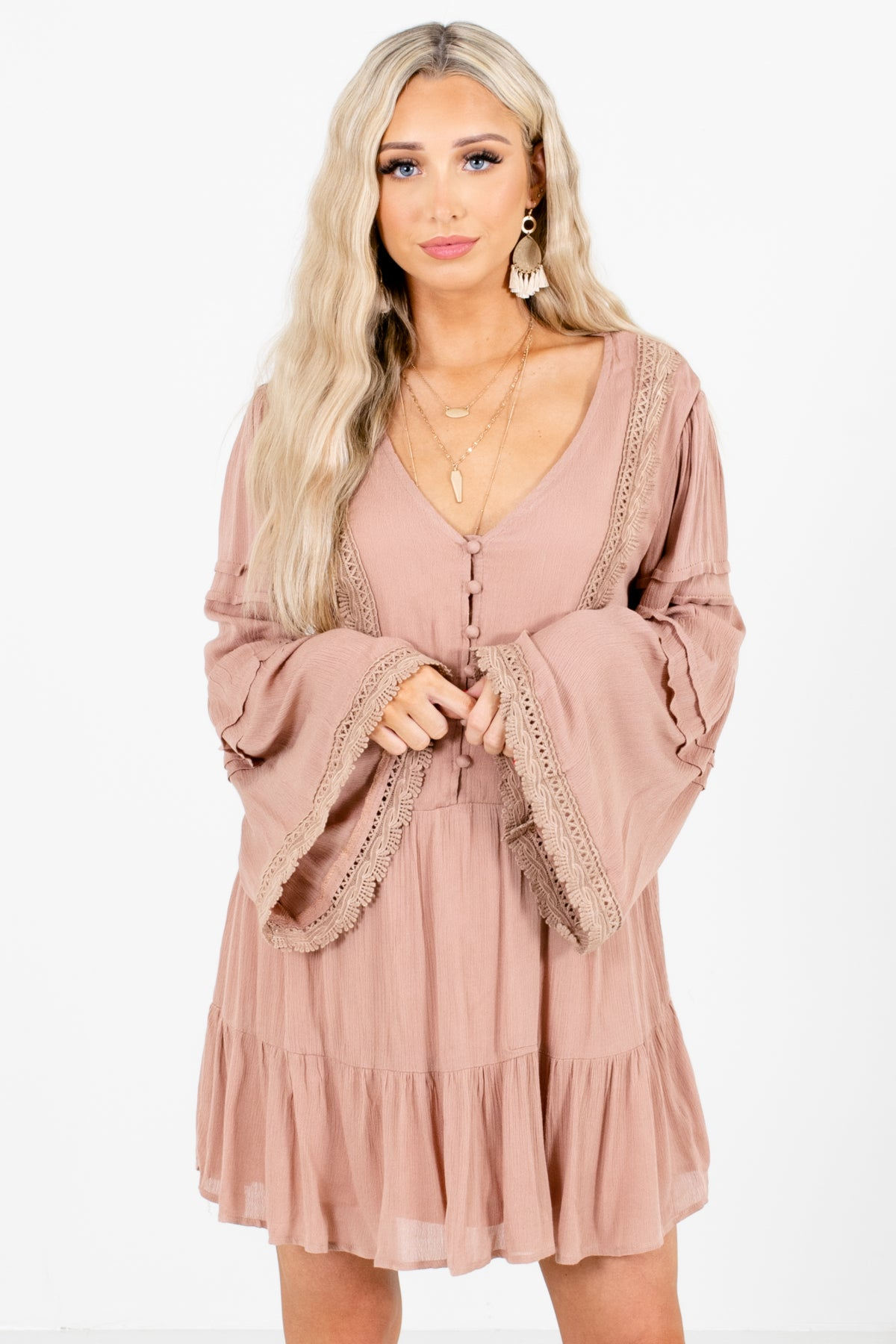 Pink Button-Up Bodice Boutique Mini Dresses for Women