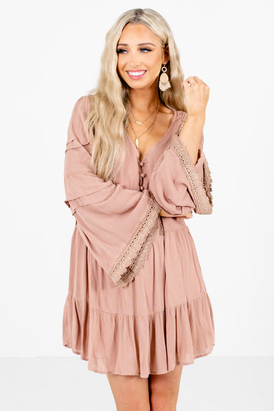 Women's Pink V-Neckline Boutique Mini Dress