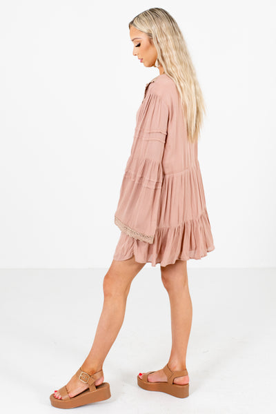 Pink Bell Sleeve Boutique Mini Dresses for Women