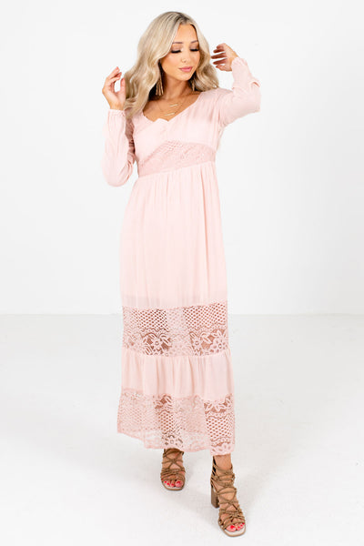 Women's Pink High-Quality Material Boutique Maxi Dress