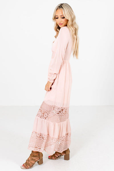 Pink Long Sleeve Boutique Maxi Dresses for Women