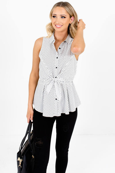 White Black Polka Dot Print Tie Front Button Up Boutique Tank Tops for Women