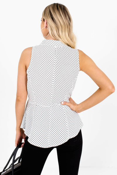 White Polka Dot Print Button-Up Tie-Front Tank Tops for Women