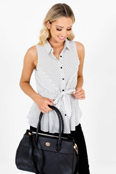 White Black Polka Dot Print Button Up Tie Front Boutique Tanks