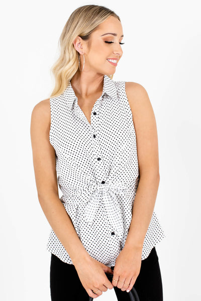 White Black Polka Dot Button-Up Tie Front Tank Tops for Women