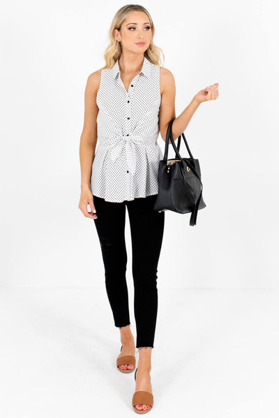 White Polka Dot Button-Up Tank Tops with Tie-Front Detail