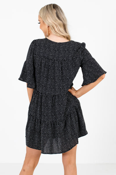 Women's Black 3/4 Length Sleeve Boutique Mini Dress