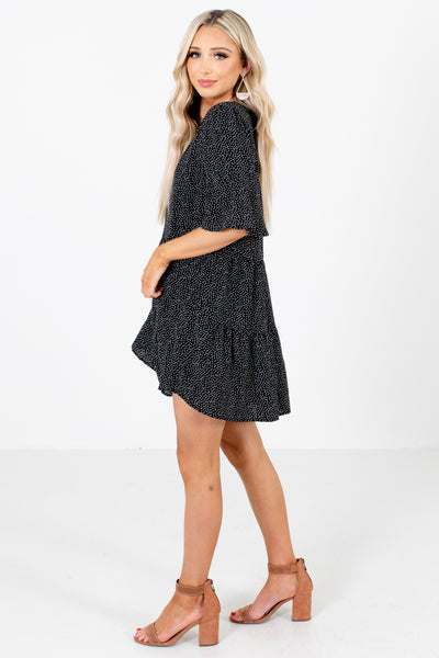 Women's Black Flowy Silhouette Boutique Mini Dress