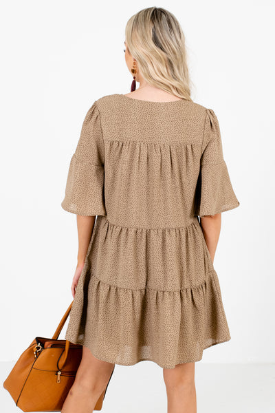 Women's Brown Tiered Ruffle Style Boutique Mini Dress