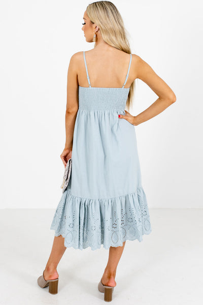 Women's Blue Adjustable Spaghetti Strap Boutique Midi Dress