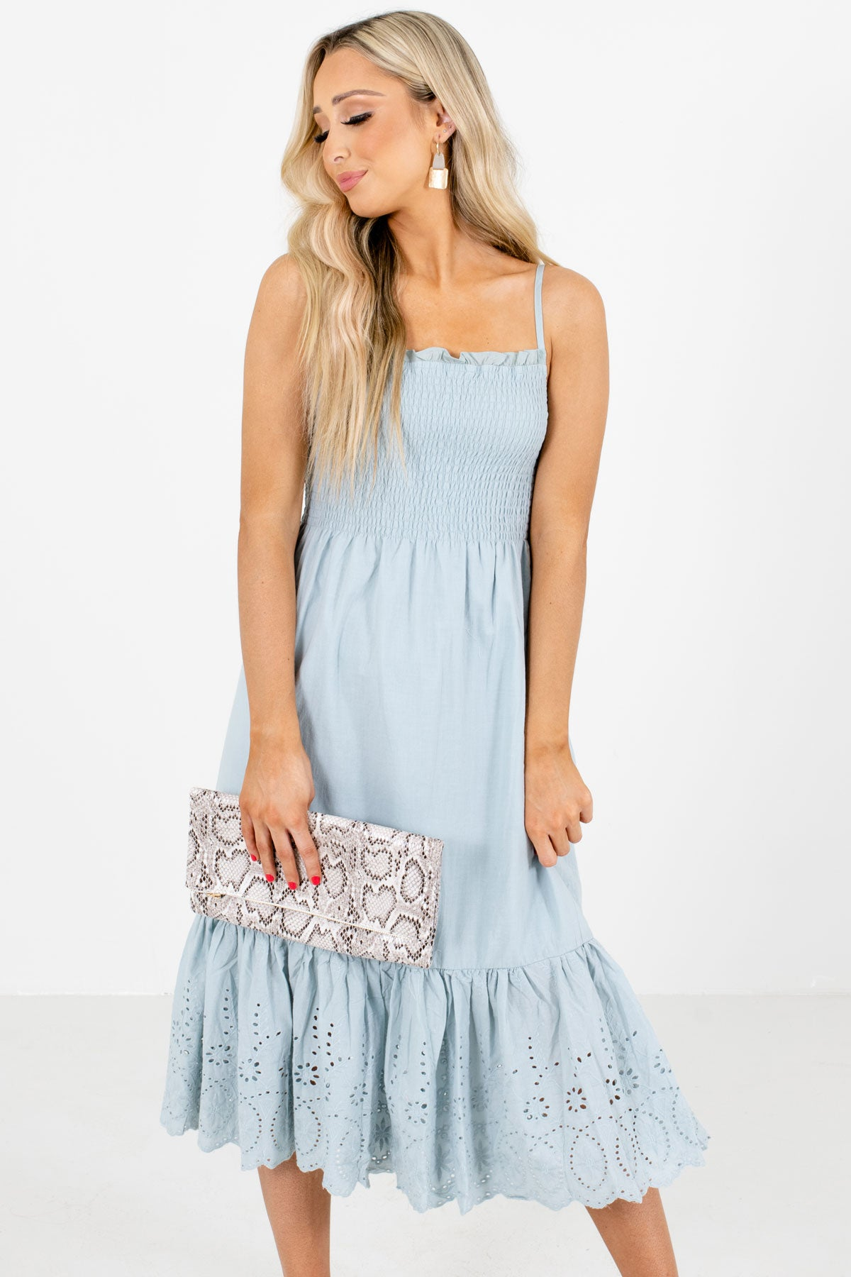 Blue Smocked Bodice Boutique Midi Dresses for Women