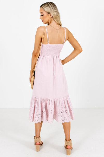 Women's Pink Pleated Accented Boutique Midi Dress
