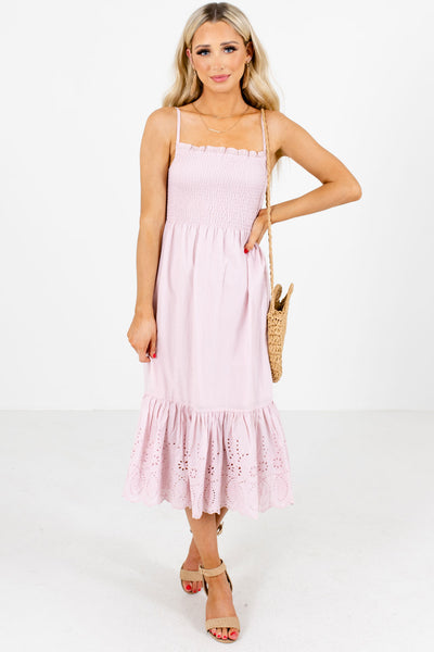 Pink Eyelet Detailed Boutique Midi Dresses for Women