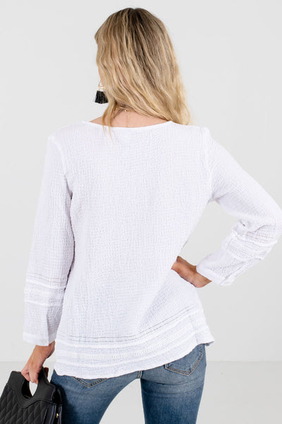 Women's White Crochet and Ladder Lace Detailed Boutique Tops