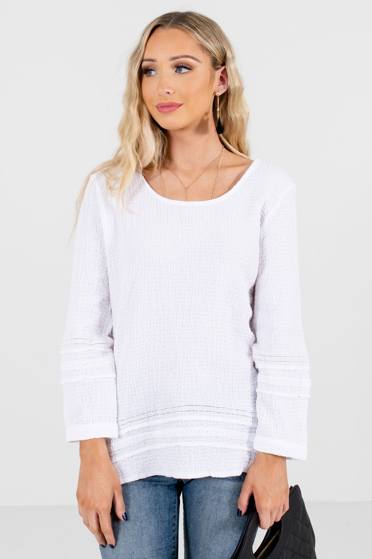 White High-Quality Textured Material Boutique Tops for Women