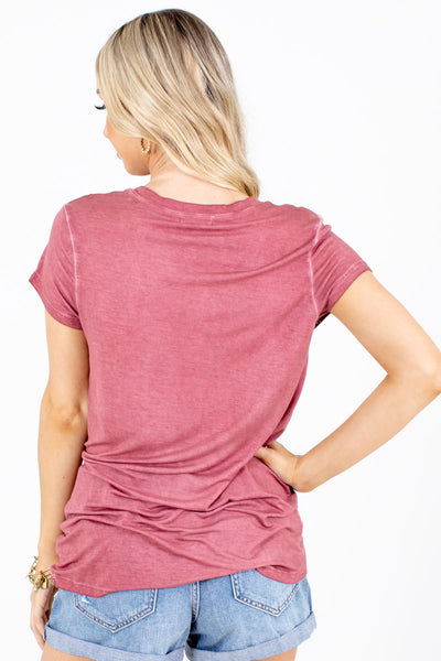 Women's Brick Red Short Sleeve Boutique Tee
