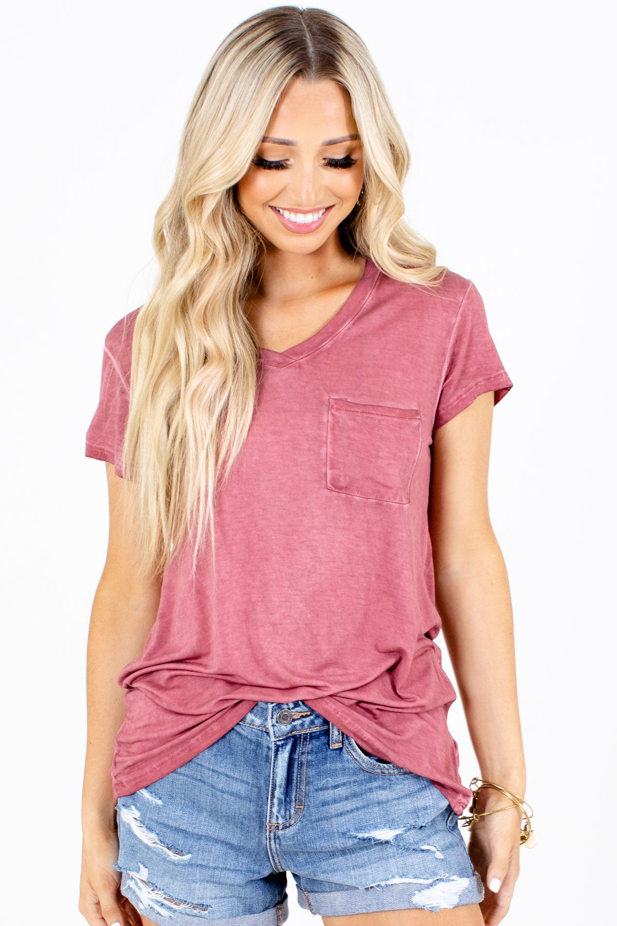 Brick Red Pocket Boutique Tees for Women