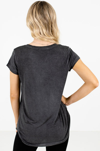 Women's Charcoal Gray V-Neckline Boutique Tee
