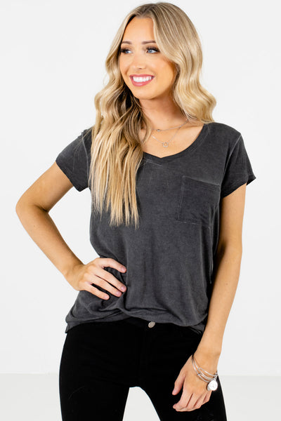 Women's Charcoal Gray Casual Everyday Boutique T-Shirt