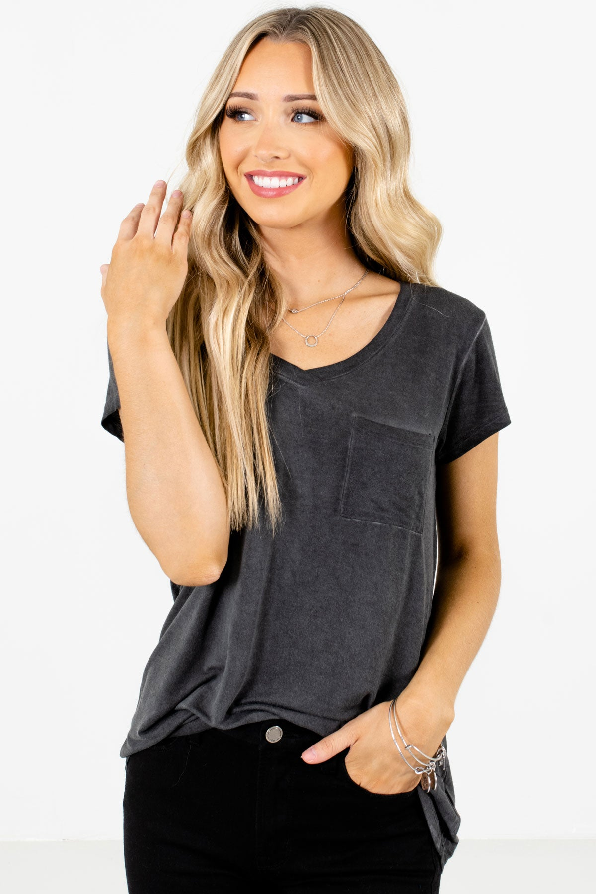 Charcoal Gray Front Pocket Boutique T-Shirts for Women