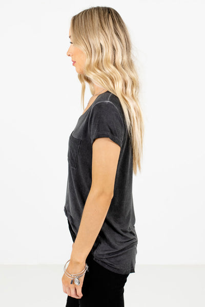 Charcoal Gray Lightweight High-Quality Material Boutique Tees for Women