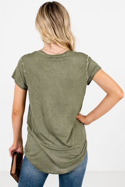 Women's Green V-Neckline Boutique Tee