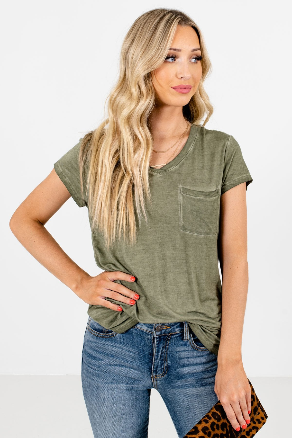 Green Front Pocket Boutique T-Shirts for Women