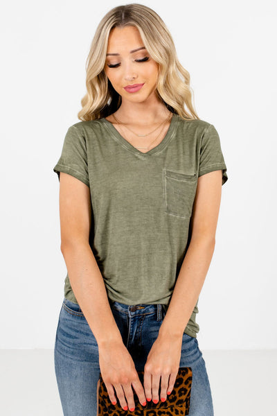 Women's Green Casual Everyday Boutique T-Shirt
