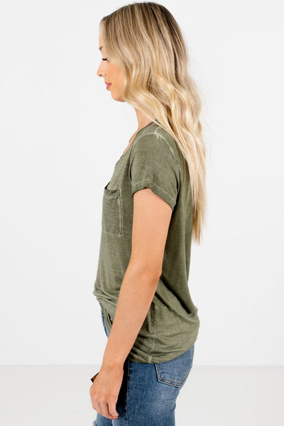 Green Lightweight High-Quality Material Boutique Tees for Women