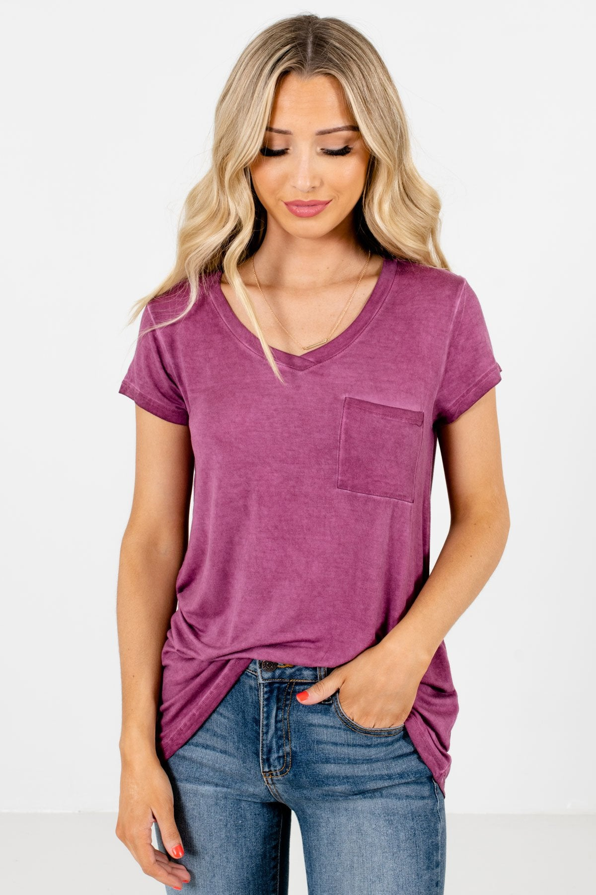 Purple Front Pocket Boutique T-Shirts for Women