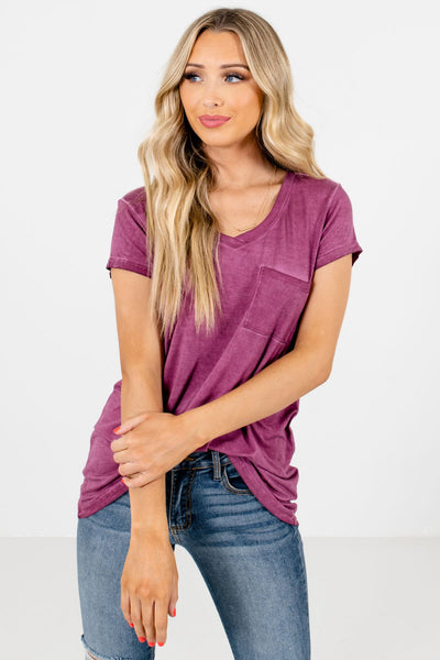 Women's Purple Casual Everyday Boutique T-Shirt