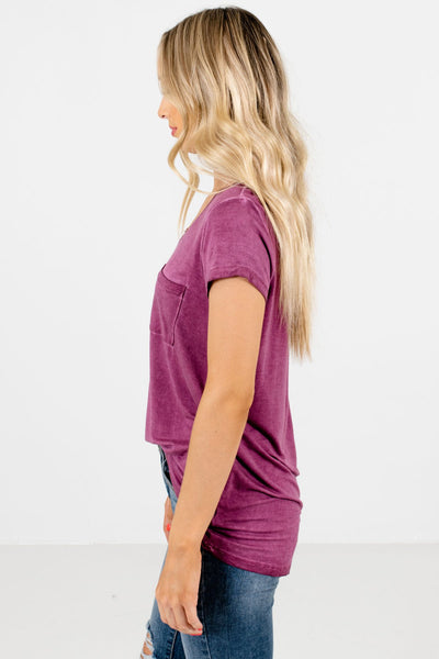 Purple Lightweight High-Quality Material Boutique Tees for Women