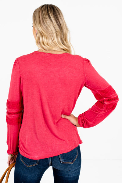 Women's Red Long Sleeve Boutique Tops