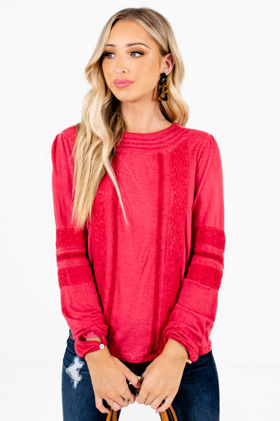 Women's Red Buttoned Cuff Boutique Tops