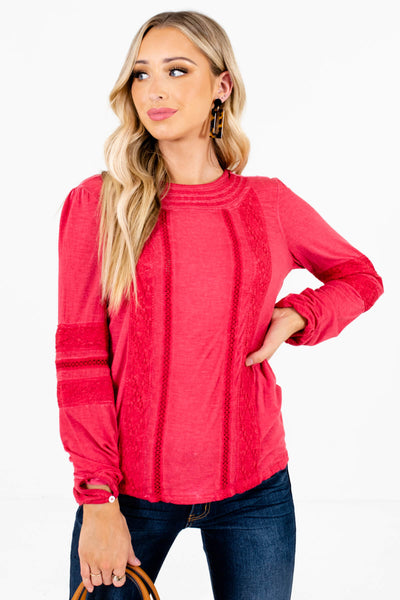 Red Crochet Lace Accented Boutique Tops for Women