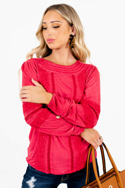 Red Casual Everyday Wear Boutique Tops for Women