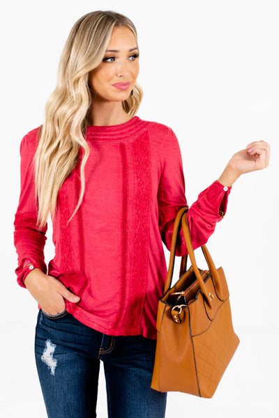 Women's Red Round Neckline Boutique Tops