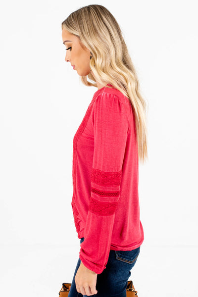 Red High-Quality Stretchy Material Boutique Tops for Women
