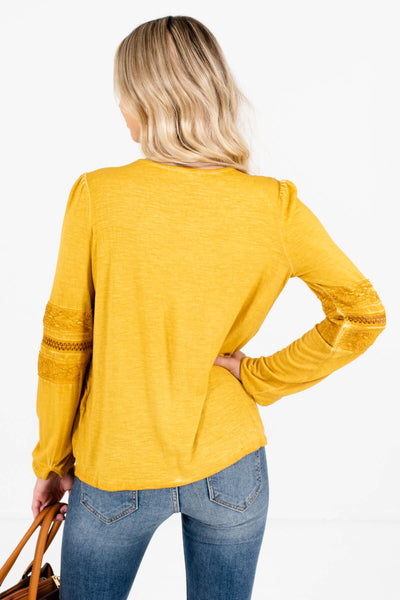 Women's Mustard Yellow Long Sleeve Boutique Tops
