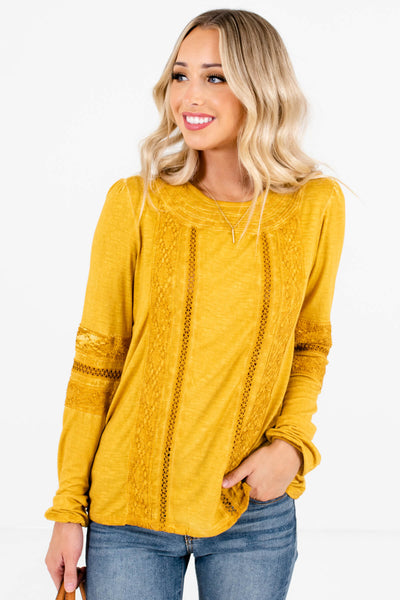 Women's Mustard Yellow Buttoned Cuff Boutique Tops