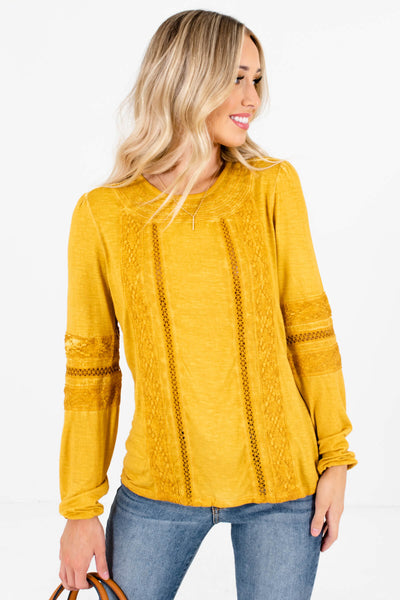 Mustard Yellow Crochet Lace Accented Boutique Tops for Women