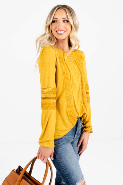 Mustard Yellow High-Quality Stretchy Material Boutique Tops for Women
