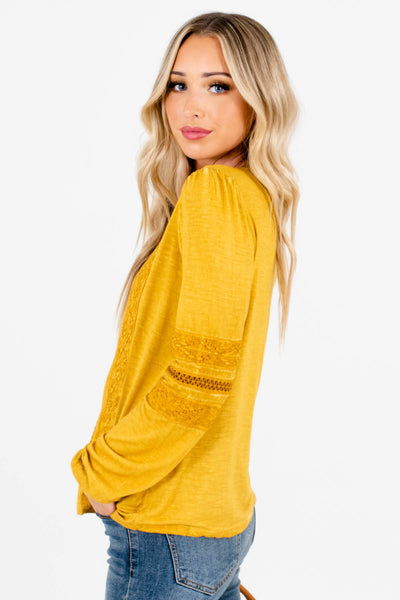 Mustard Yellow Casual Everyday Wear Boutique Tops for Women