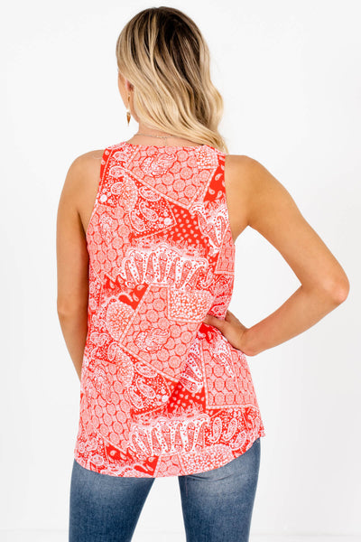 Red Bandana Print Paisley Tank Tops Affordable Online Boutique