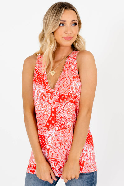 Red White Paisley Bandana Tank Tops Affordable Online Boutique