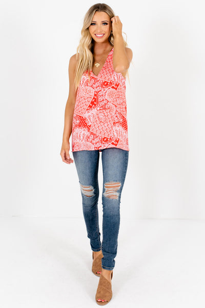 Red Paisley Bandana Print Tank Tops Affordable Online Boutique